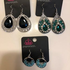 Lot of 3 pairs of paparazzi earrings green & blue